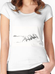 Bison Buffalo Charging Women's Fitted Scoop T-Shirt