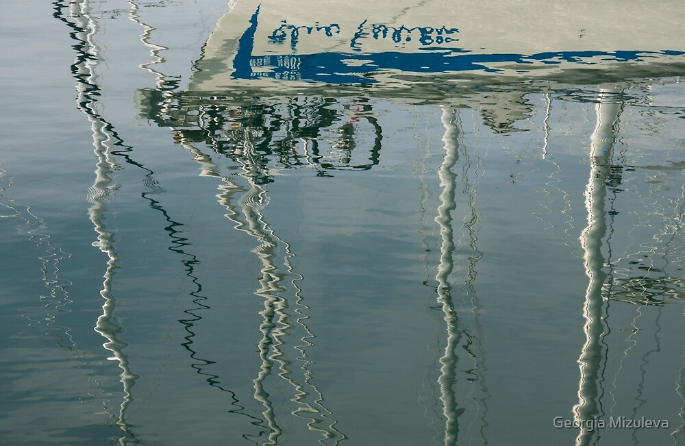 Water Play - Abstract Boat and Bicycle Reflections by Georgia Mizuleva