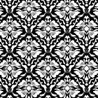 Black And White Vintage Floral Damasks Pattern by artonwear