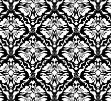 Black And White Vintage Floral Damasks Pattern by artonwear