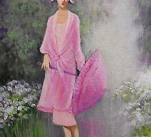 VINTAGE LADY IN THE RAIN by Dian Bernardo