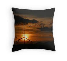 Sunset at Fairburn windfarm Throw Pillow