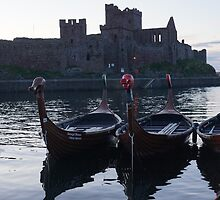 Viking Longboats and the Castle by youmeus