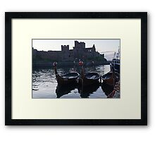Viking Longboats and the Castle Framed Print