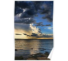 Clouds, Rays and Rain Poster