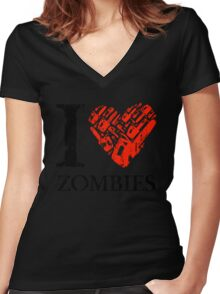 I Love Zombies (Version 01) Women's Fitted V-Neck T-Shirt