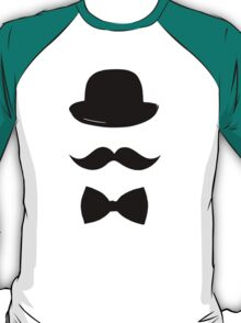 Hat, mustache and bow tie t-shirt/hoodie/sticker  T-Shirt