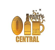american football ball beer chips party central by patrimonio