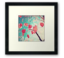 Our hearts are autumn leaves waiting to fall (Pink - Red fall leafs and brilliant retro blue sky) Framed Print