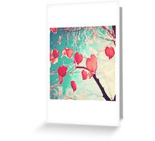 Our hearts are autumn leaves waiting to fall (Pink - Red fall leafs and brilliant retro blue sky) Greeting Card