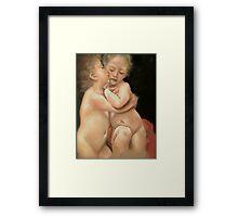 """Bouguereau's """"Primo Bacio"""" (part)  Framed Print"""