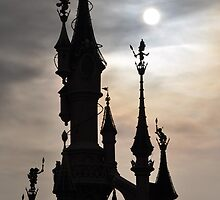 PARIS, FRANCE - Disneyland Paris Castle backlit by jsafford