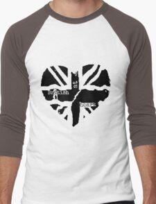 Brit at Heart (Black) Men's Baseball ¾ T-Shirt