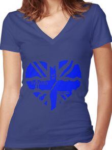 Brit At Heart (blue) Women's Fitted V-Neck T-Shirt