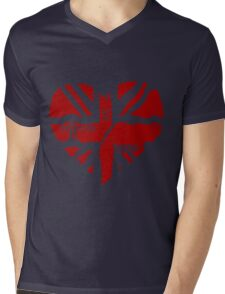 Brit At Heart (Red) Mens V-Neck T-Shirt