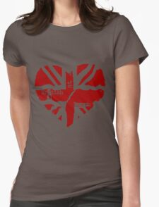 Brit At Heart (Red) Womens Fitted T-Shirt