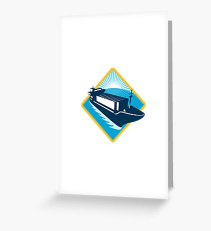 container ship diamond retro Greeting Card