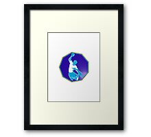 handball player jumping throwing ball Framed Print