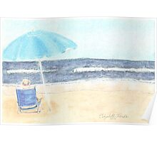 Chair and Umbrella on the Beach Poster