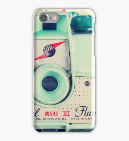 Film Mint Camera on a Colourful Retro Background  iPhone Case/Skin