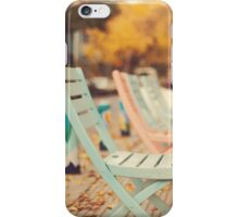 Dream Autumn (Pink and blue coffee shop chairs on retro and vintage fall) iPhone Case/Skin