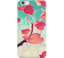 Our hearts are autumn leaves waiting to fall (Pink - Red fall leafs and brilliant retro blue sky) iPhone Case/Skin