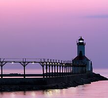 Michigan City (Indiana) Light at Twilight by Kenneth Keifer