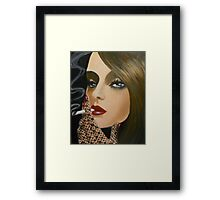 A LADY WITH A CIGARETTE Framed Print