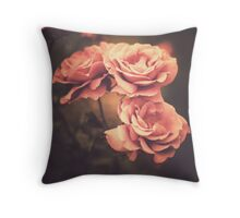 Three Pink Roses (Vintage Flower Photography) Throw Pillow