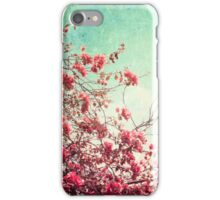 Pink Flowers on a Textured Blue Sky (Vintage Flower Photography) iPhone Case/Skin