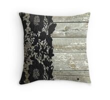 rustic chic modern girly gray barn wood black lace Throw Pillow