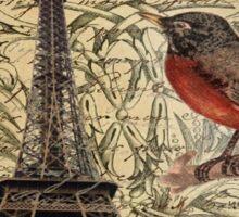 elegant scripts crown robin vintage paris eiffel tower  Sticker
