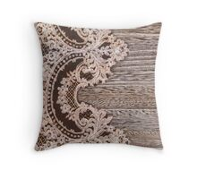 vintage rustic Country Barn Wood white Lace pattern Throw Pillow