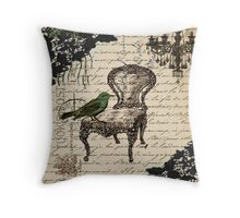 shabby chic vintage bird scripts french chair chandelier  Throw Pillow