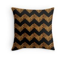 modern girly abstract pattern black chevron leopard print Throw Pillow