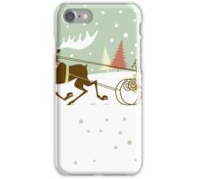 Retro christmas illustration smart and reindeer iPhone Case/Skin