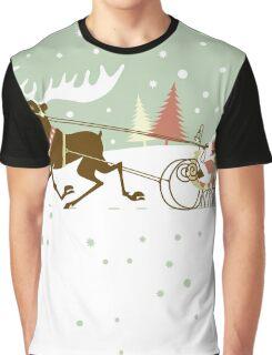 Retro christmas illustration smart and reindeer Graphic T-Shirt