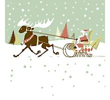 Retro christmas illustration smart and reindeer Photographic Print