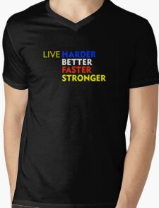 LIVE Harder Better Faster Stronger Mens V-Neck T-Shirt