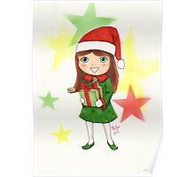 Christmas Elf Illustration Poster