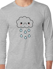 Adorable Kawaii Sad Rainy Storm Cloud Long Sleeve T-Shirt
