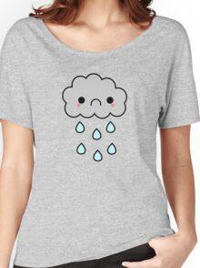 Adorable Kawaii Sad Rainy Storm Cloud Women's Relaxed Fit T-Shirt
