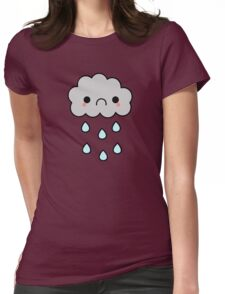 Adorable Kawaii Sad Rainy Storm Cloud Womens Fitted T-Shirt