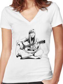 Joni Mitchell - Line Women's Fitted V-Neck T-Shirt