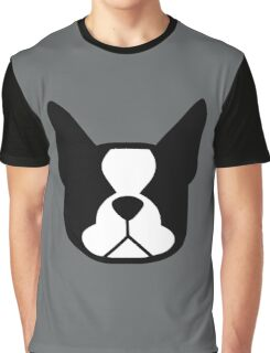 boston terrier face silhouette in black and white Graphic T-Shirt