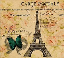vintage butterfly paris eiffel tower fashion by lfang77