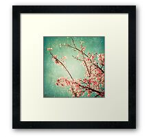 Pink Autumn Leafs on Blue Textured Sky (Vintage Nature Photography) Framed Print