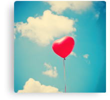 Love is in the air (Red Heart Balloon on a Retro Blue Sky) Canvas Print