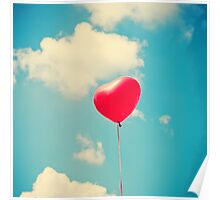 Love is in the air (Red Heart Balloon on a Retro Blue Sky) Poster