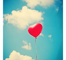 Love is in the air (Red Heart Balloon on a Retro Blue Sky) Photographic Print